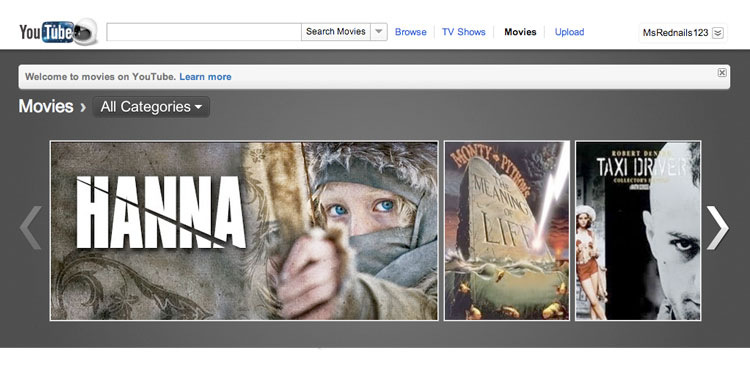 youtube-movies-1 YouTube vs. Lovefilm - A New Choice in Online Video Rental