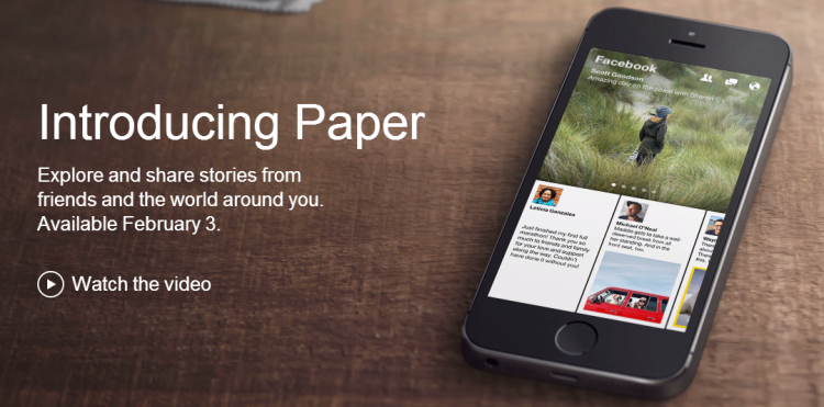 "Paper-1 Facebook Announce Visual News Reader App Called ""Paper"""