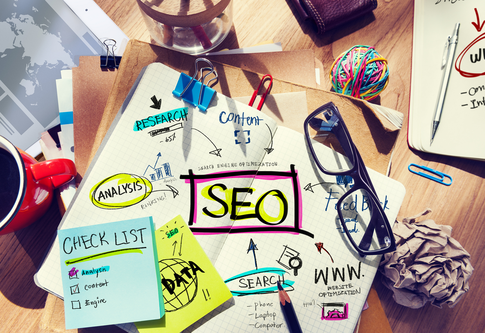 bigstock-Desk-with-Notes-About-SEO-66176365-1 3 Common SEO Myths That Need to be Debunked