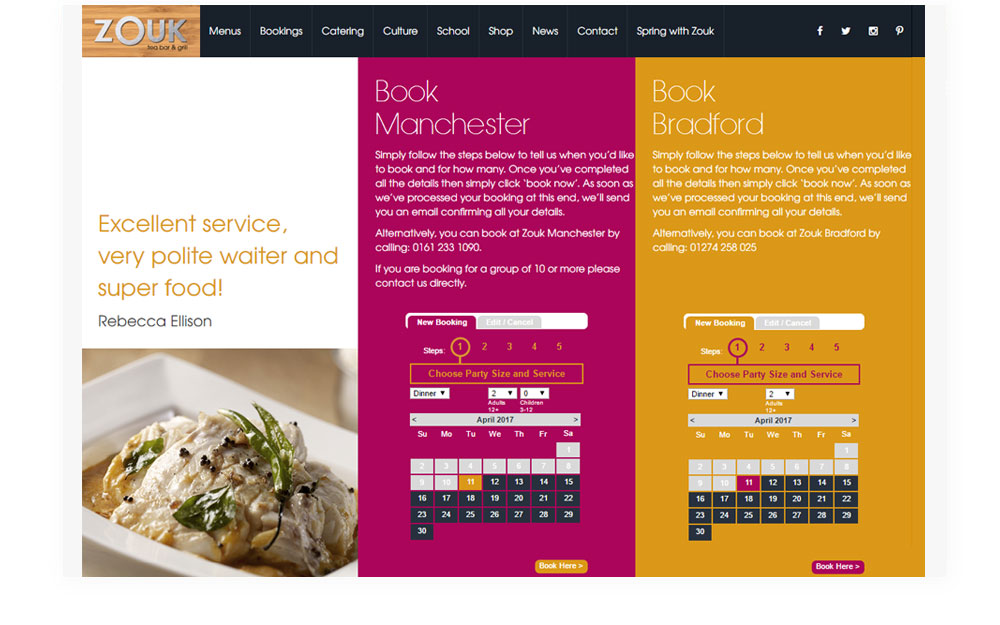 Zouk Restaurant: Serving up a tasteful website - Example Work