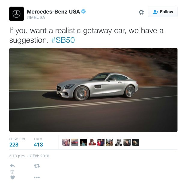 mercedes The Most Shareable Ads Of Super Bowl L, 2016